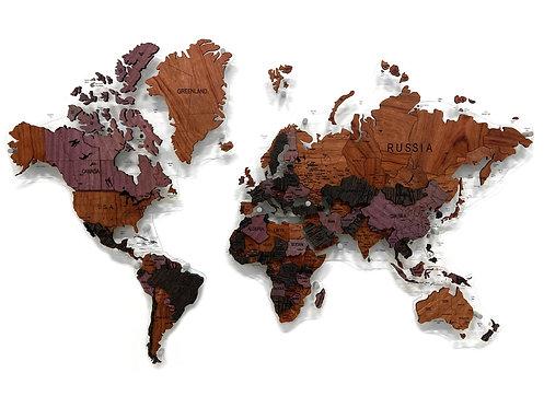 Карта мира из экзотических пород древесины (многоуровневая)