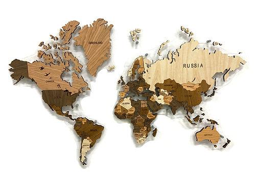 Деревянная карта мира мозаика из ценных пород древесины
