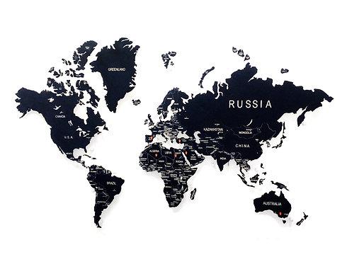 Карта мира черная (с белой гравировкой)