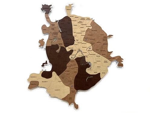Деревянная карта Москвы в кофейной расцветке