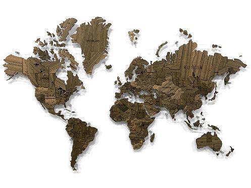 Многоуровневая карта мира из натурального шпона американского ореха