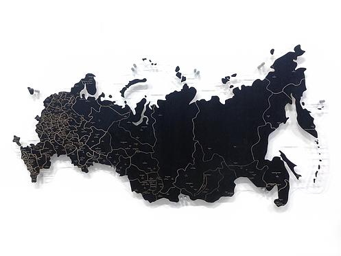 Карта России черная с гравировкой цвета дерева