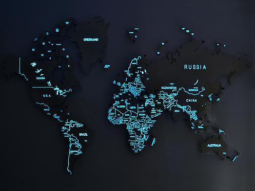 Карта мира, светящаяся в темноте