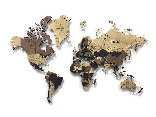 Деревянная карта мира из массива дуба