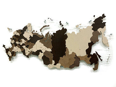Карта России многоуровневая (Кофейная)
