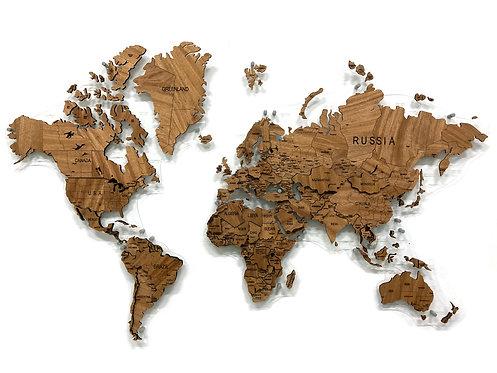 Карта мира из массива африканского махагона (многоуровневая)