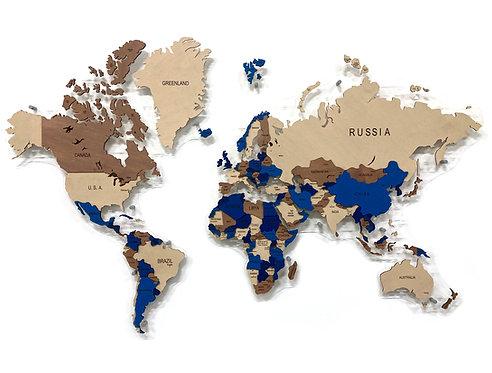 Карта мира многоуровневая (глубокий Индиго)