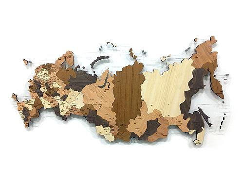 Карта-мозаика России из ценных пород древесины