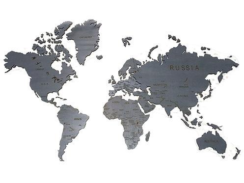 Карта мира однотонная (темно-серая)