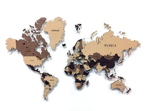 Карта мира многоуровневая (Кофейная)