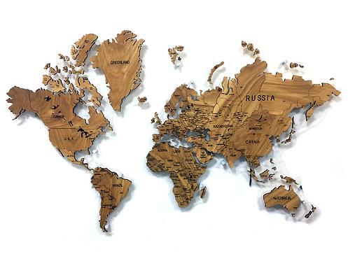 Карта мира из массива горного карагача
