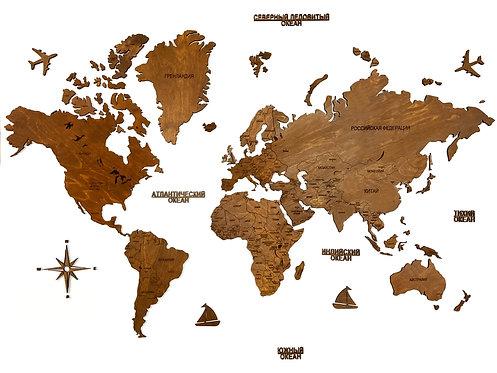 Карта мира однотонная (без подложки) с аксессуарами. Любой цвет!