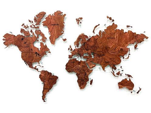 Карта мира из массива тропической Бубинги (многоуровневая)