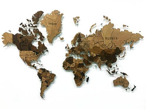 Многоуровневая карта мира из фруктовых пород дерева