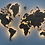 Карта мира из дерева в сером цвете с подсветкой