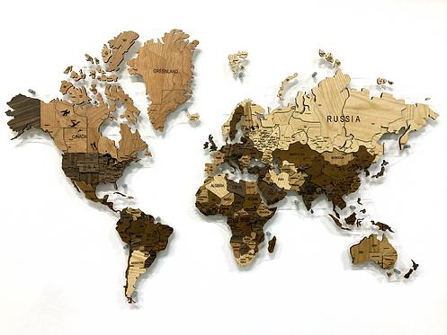 Многоуровневая карта-мозаики из ценных пород древесины