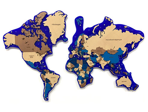 Карта мира многоуровневая (Сапфировая)