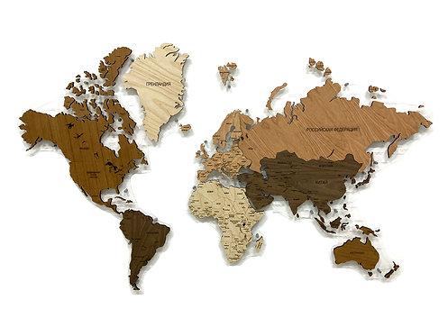 Деревянная карта мира из ценных пород древесины