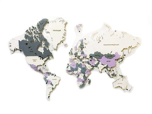 Карта мира многоуровневая (Холодная)