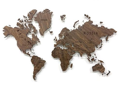 Карта мира из натурального шпона американского ореха