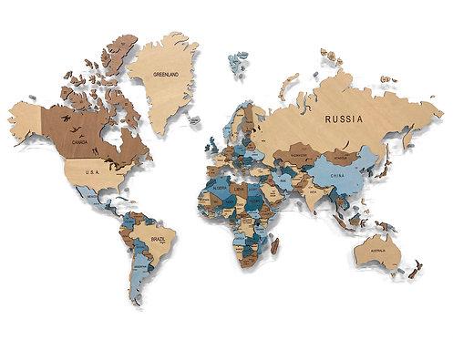 """Карта мира многоуровневая """"Глубокий Индиго"""""""