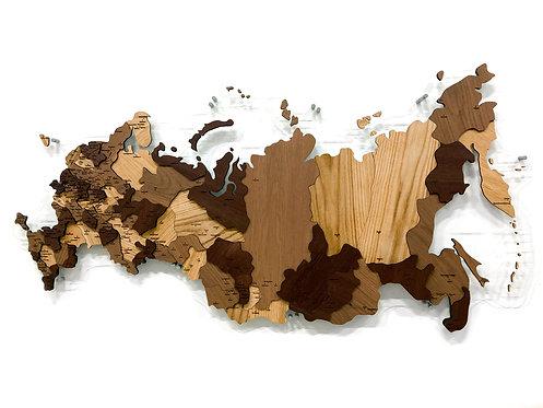 Карта России из массива дуба (многоуровневая)