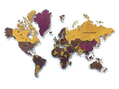 """Деревянная многоуровневая карта мира в расцветке """"Cолнечная"""""""