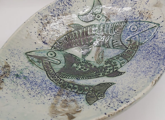 Marbled Clay Pisces Motif Bowl