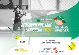 TC Velina is Jeugdvriendelijke Tennisclub met Erkende Tennisschool.