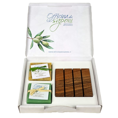 Box 2 Saponi + Portasapone Legno Confezione Regalo