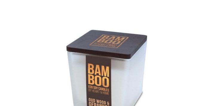 CANDELA BAMBOO IN CERA DI SOIA - OUD WOOD & GERANIUM - 90G