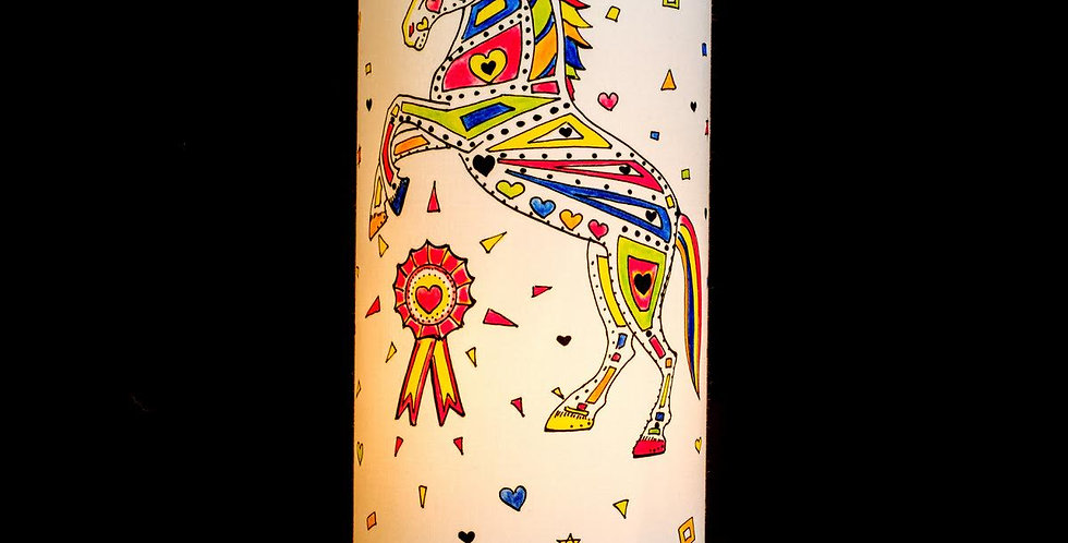 Louie Loveheart Horse Print Table Lamp