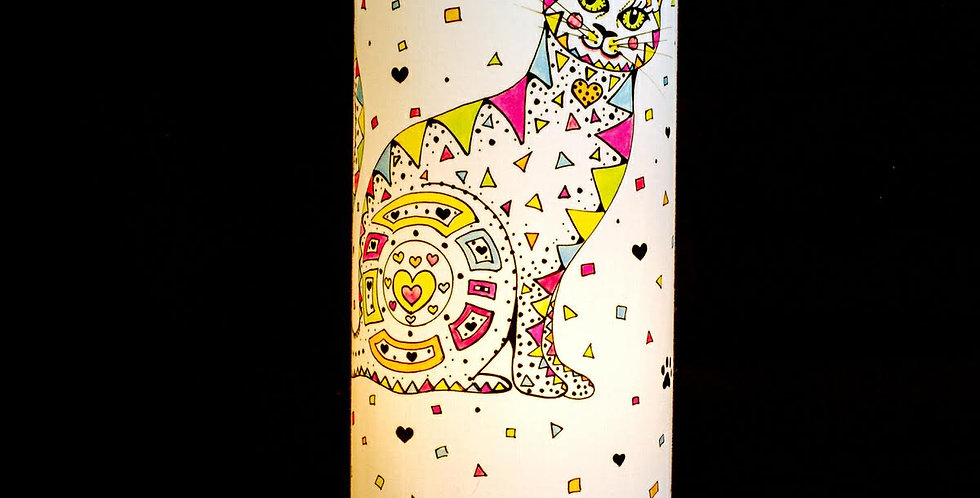 Lola Loveheart Cat Print Table Lamp