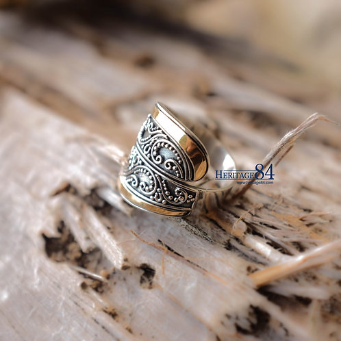 Unisex silver ring, wrap ring, 18k gold accents silver ring