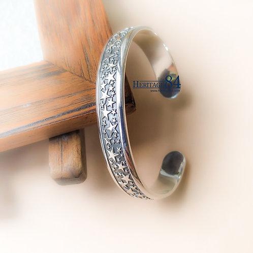 Star bangle bracelet, Sterling silver cuff bangle