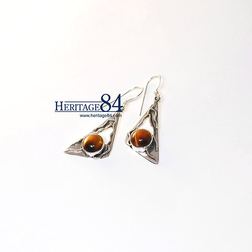 Earrings with Tiger eye stone, drop and dangle earrings in sterling silver