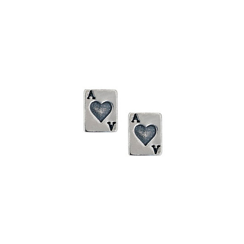 Ace of Heart Stud earrings in 925 Sterling Silver