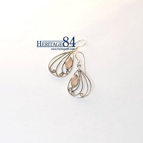Earrings with Rose quartz, Handmade sterling silver earrings, crystal earrings