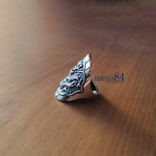 Oriental Dragon shield ring, Chinese retro vintage ring