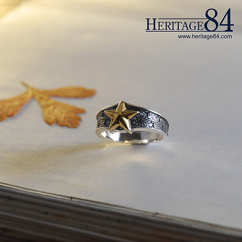 Golden Star Silver band ring | Unisex sterling silver ring
