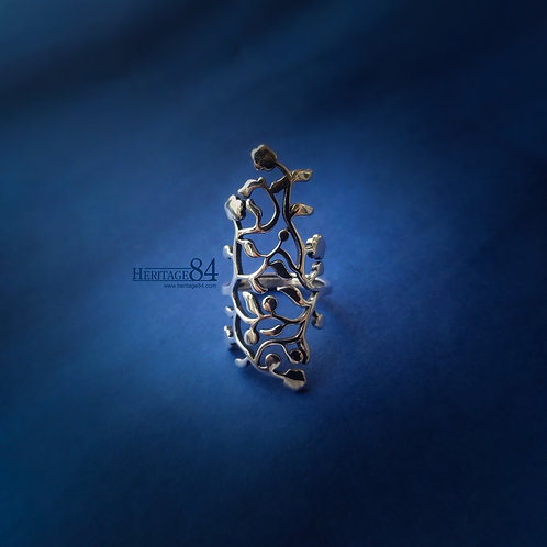 Floral Silver ring, 925 Long finger ring