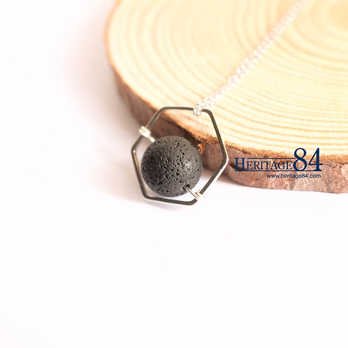 Lava stone necklace, Hexagon pendant necklace women