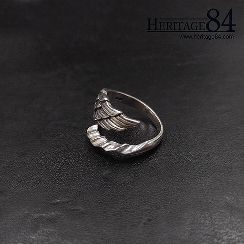 Dragon wing ring in sterling silver - Adjustable wrap around ring