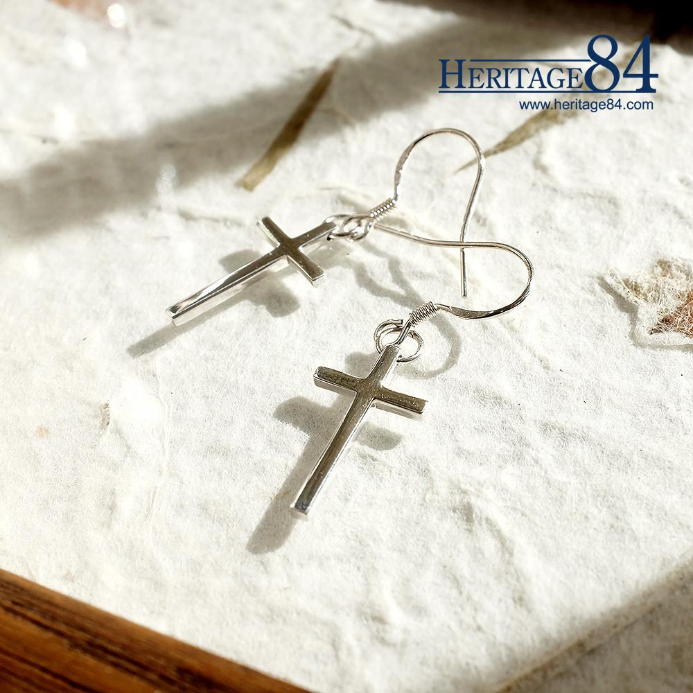 silver cross hook earrings