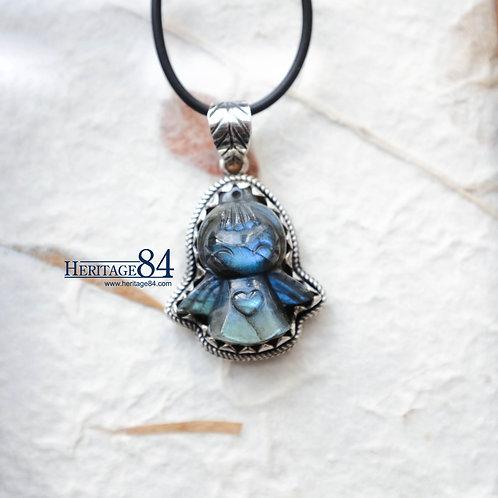 Vintage Hand carved Labradorite Angel pendant