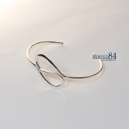 Sterling silver bangle, bracelet for women,Curled silver bangle