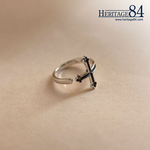 Vintage Silver Cross Ring for Pinky