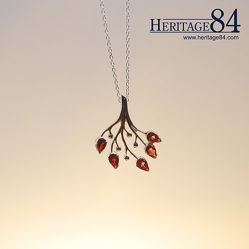 Birthstone Pendant in 925 sterling Silver | Rose Necklace