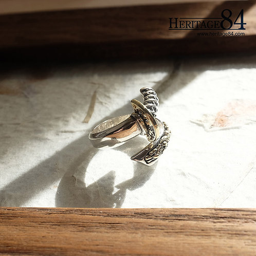 Samurai Dragon Sword Silver Ring for Men