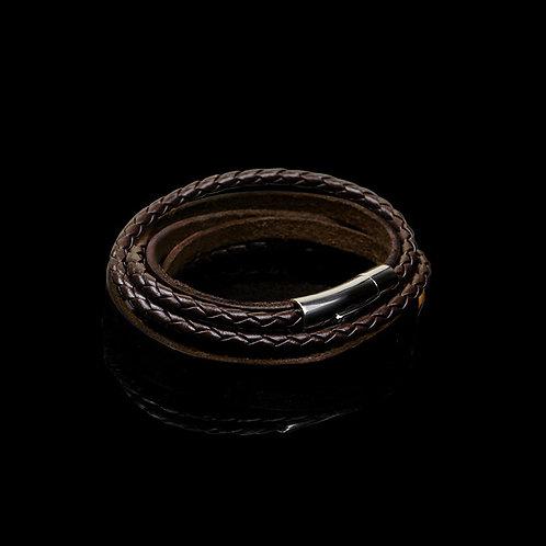 Braided Bracelets, Black Leather bracelet, brown leather